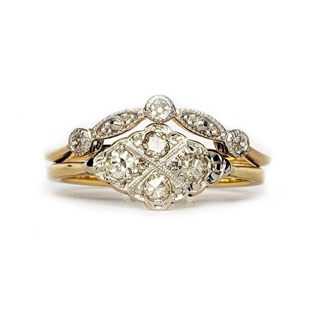 The perfect pair 💞.....bespoke shaped wedding band, set with three beautiful old cut diamonds to complement our customers stunning inherited engagement ring✨ * * * * #bespoke #bespokering #showmeyourrings #oneofakind #bespokeweddingrings #bristol #perfectpair #ido #weddingrings #heirloom #vintagerings #vintageengagementring #vintageweddingring #soulmates #oldcutdiamonds #diamonds #milgrain