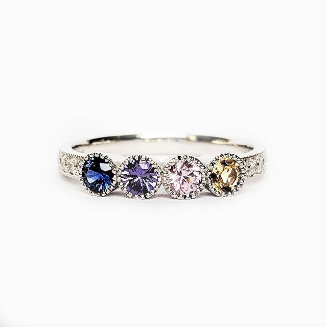 Do you know your birthstone?  4 birthstones, representing our customers 4 children, 3 sapphires for September and 1 citrine for November. Set in 18ct white gold, we have designed this bespoke anniversary ring to complement out customers vintage style engagement ring ~ ~ ~ #bespokejewellery #anniversarygift #anniversary #goldsmith #birthstone #citrine #sapphire #citrine #pinksapphire  #vintagestyle #grainset #milgrain #ring #whitegold #besopke #bristol #surprisegifts #eternityring #multicolor #gemstones