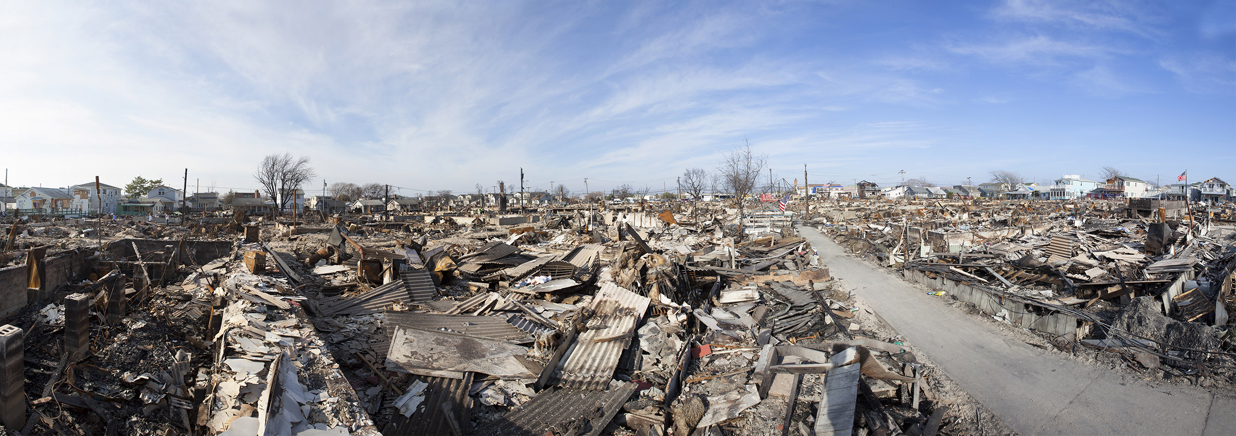 NEW YORK -November12: The fire destroyed around 100 houses during Hurricane Sandy in the flooded neighborhood at Breezy Point in Far Rockaway area on October 29, 2012 in New York City; NY