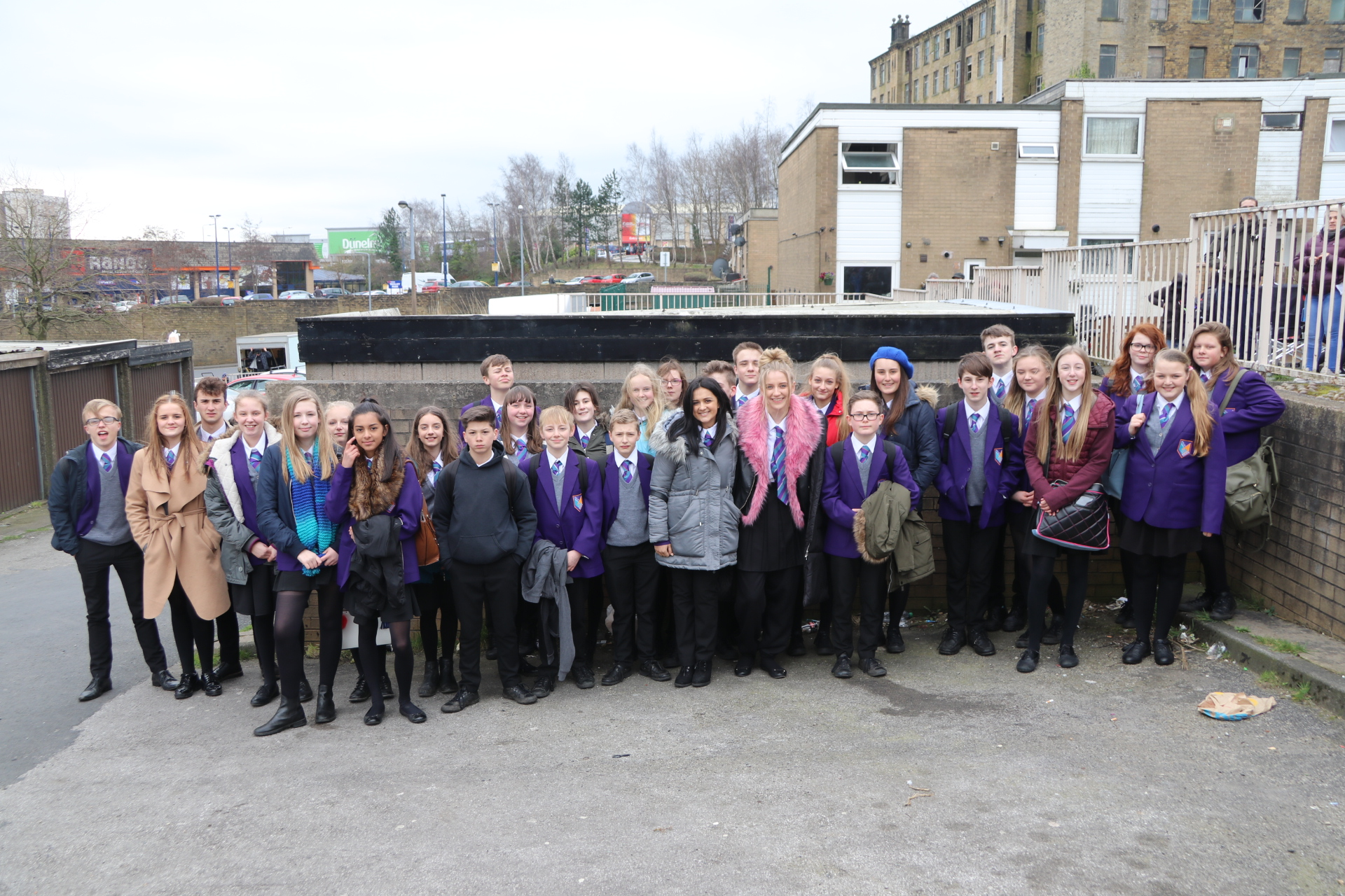 Ryburn students on set with stars of the show Amy-Leigh Hickman and Poppy Lee Friar, who play Naz and Missy.