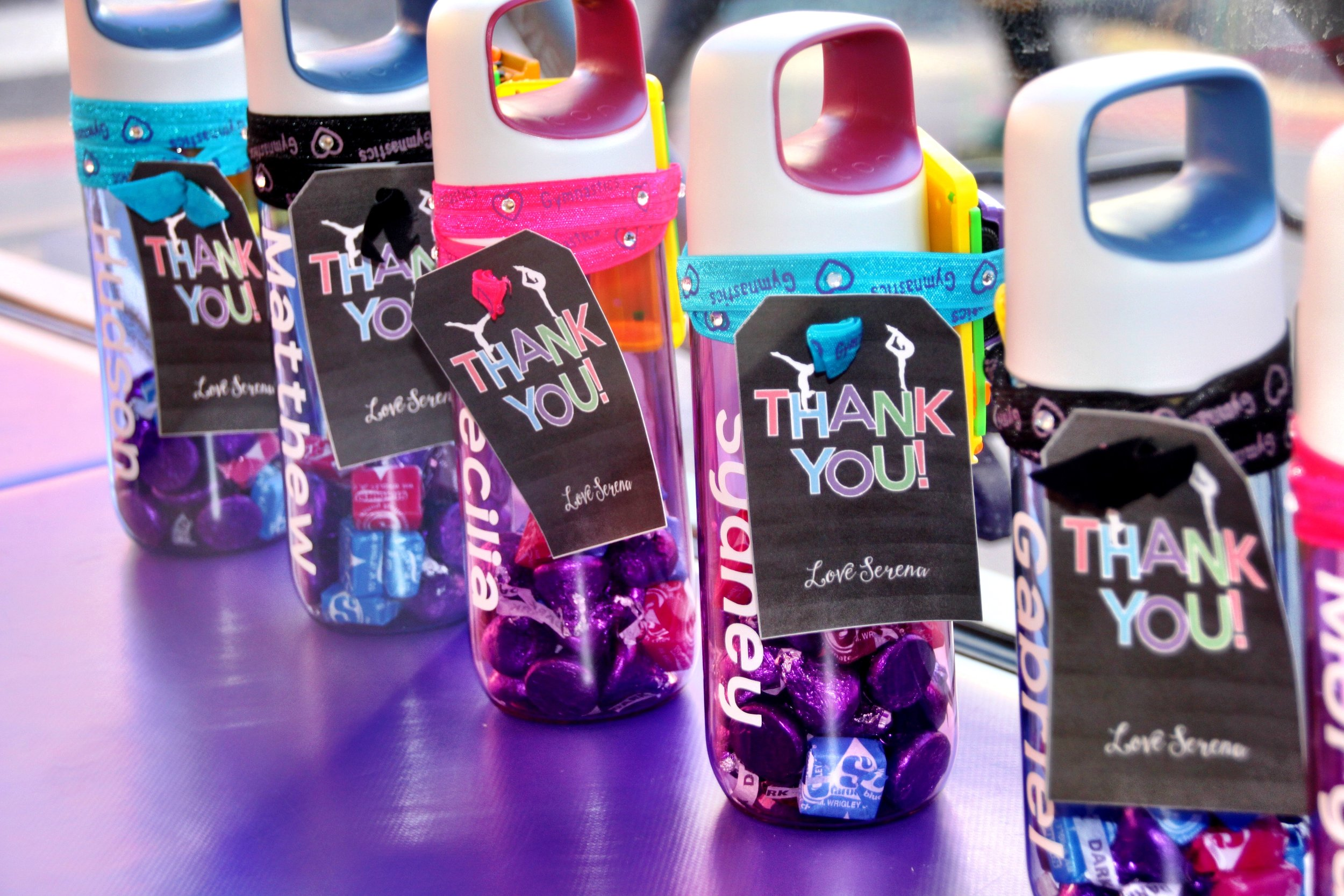Personalized Water Bottle favors with fun surprises inside!