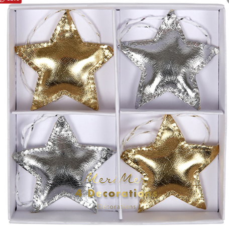 Silver and Gold star ornaments