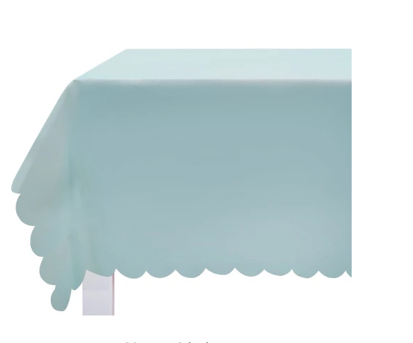 Blue scalloped tablecloth