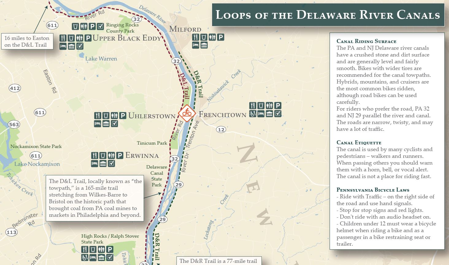 offthemaps Delaware River Bike Trail Map on