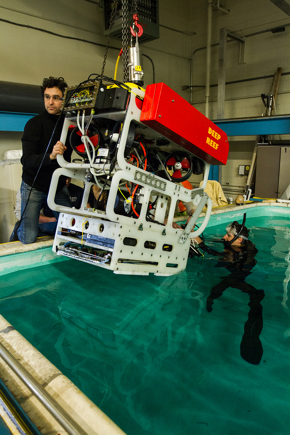 ROV being tested in tank