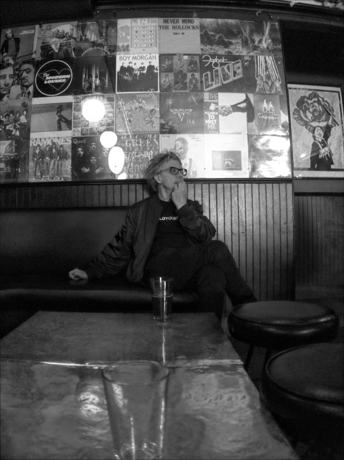 Pondering the set list, at The HiFi Bar.... -