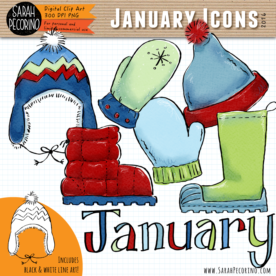 January Icons Clip Art {First Edition}