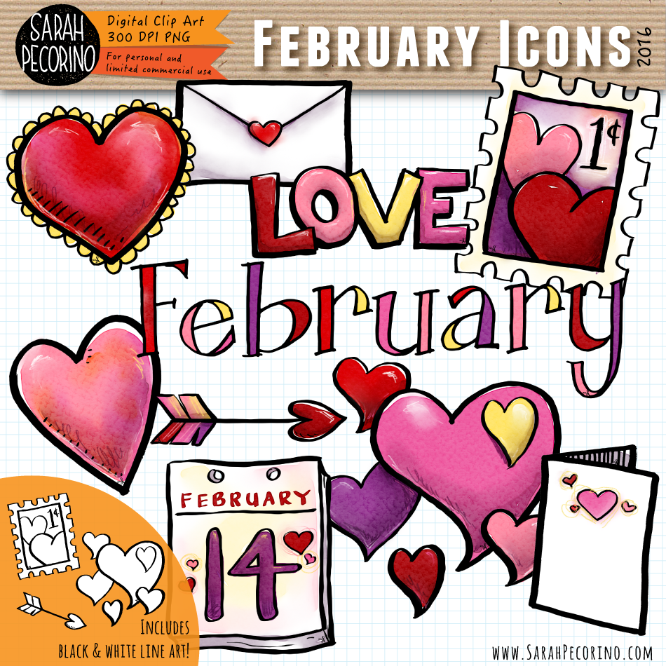 February Icons Clip Art {First Edition}