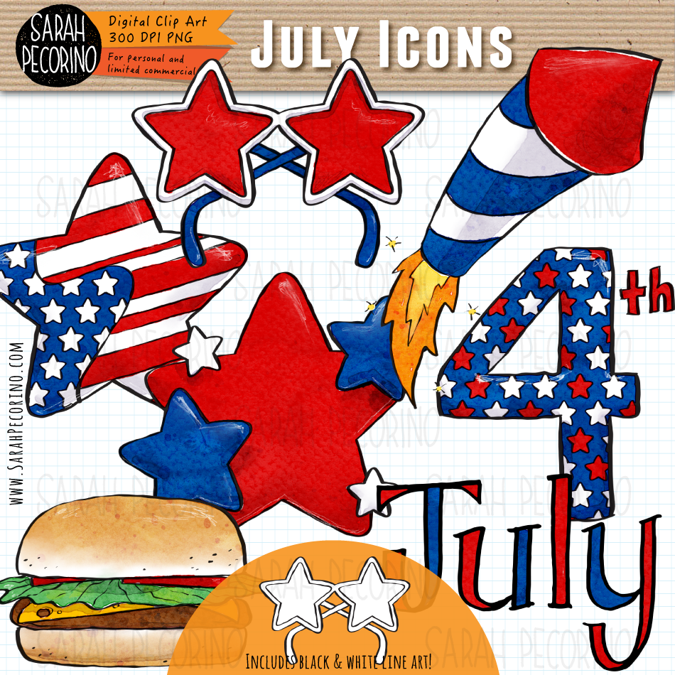 July Icons Clip Art {First Edition}