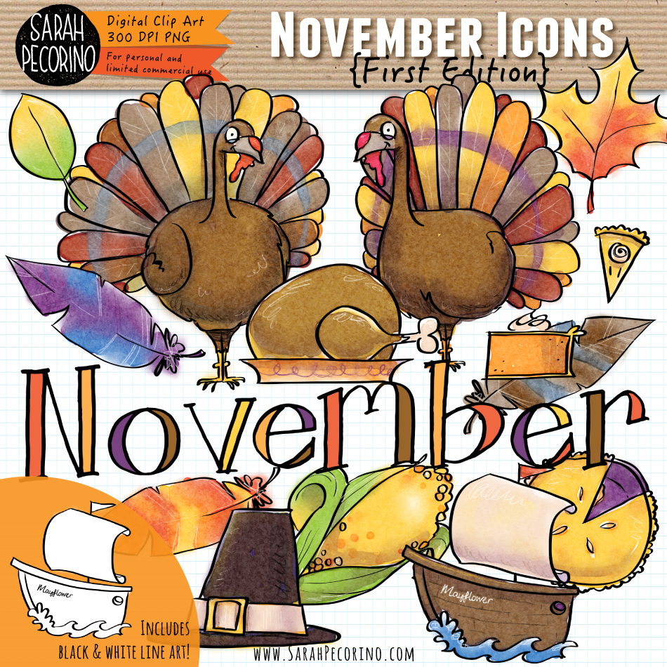 November Icons Clip Art {First Edition}
