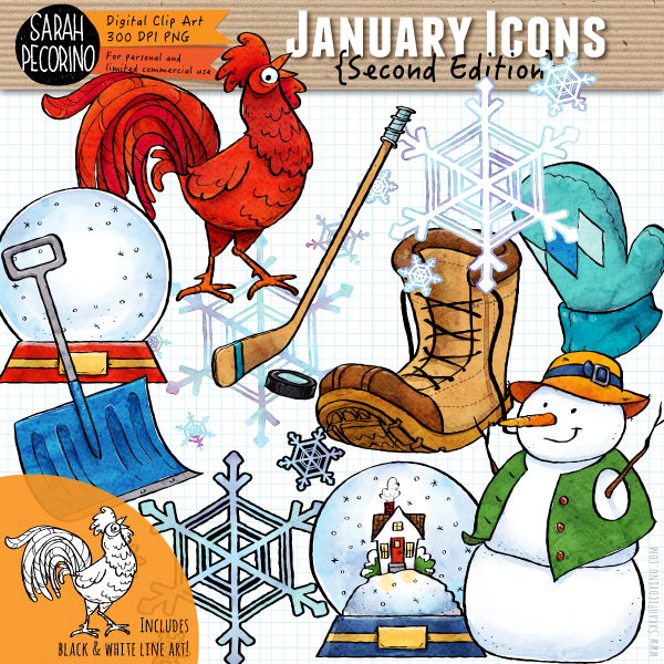 January Icons Clip Art {Second Edition}