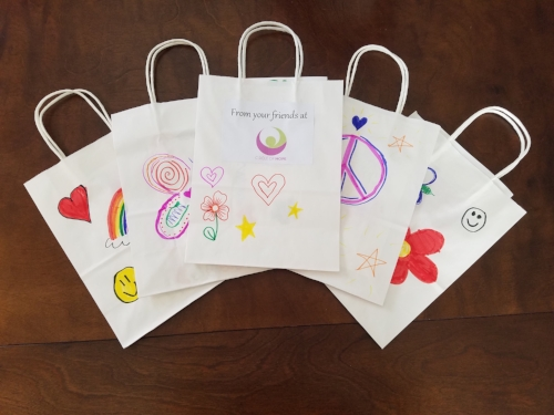 Dignity Bags that have been decorated by children