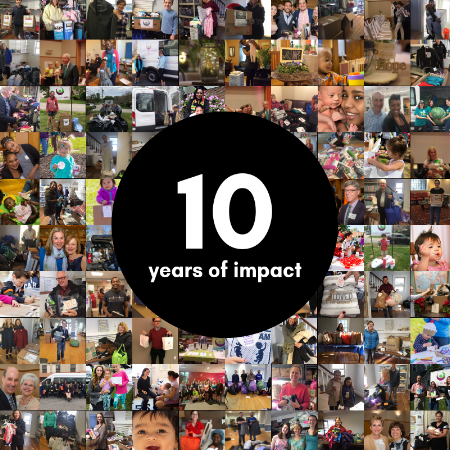 "Collage of small photos with the words ""Ten Years of Impact"""