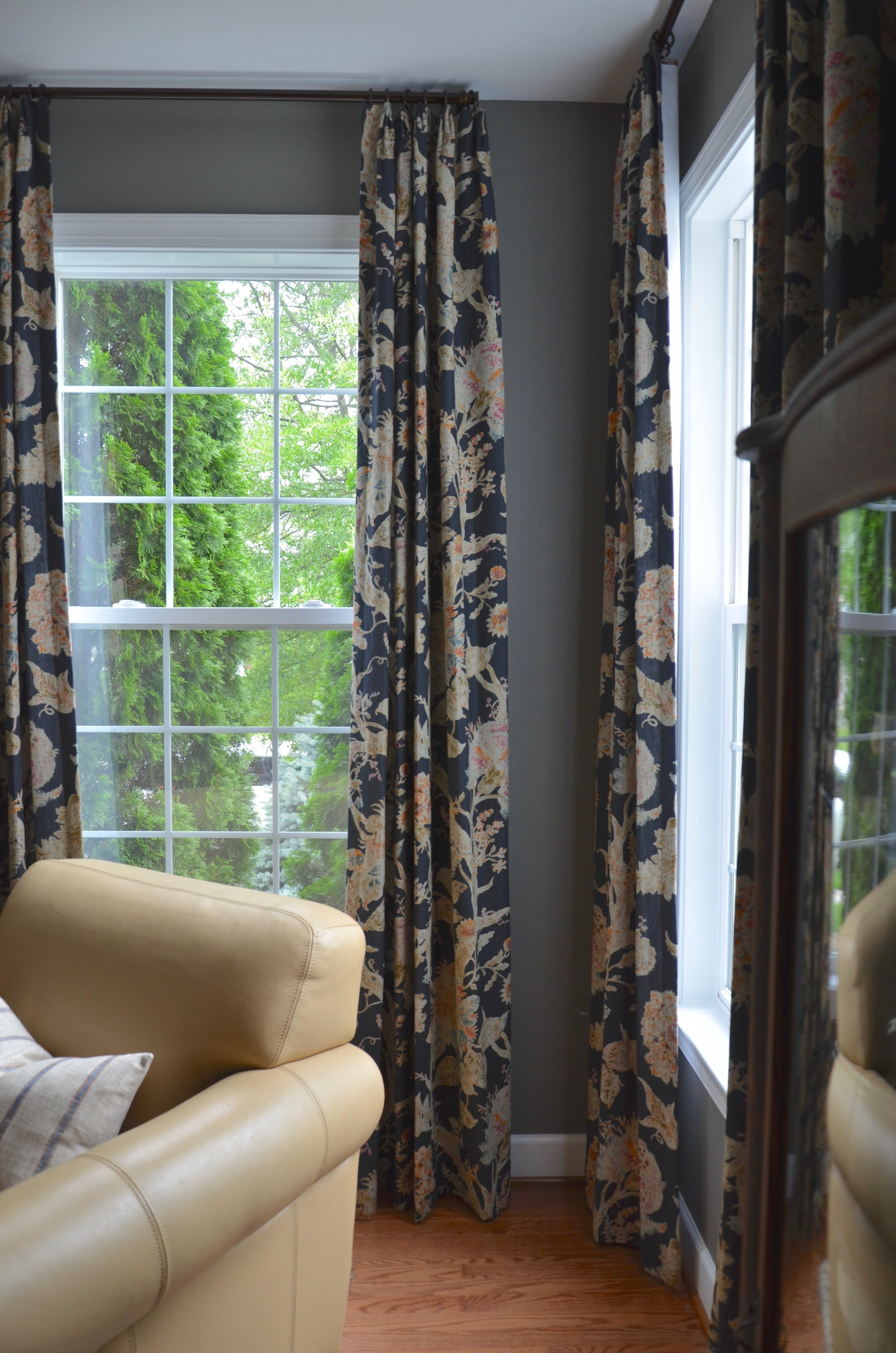 Custom draperies in the living room of client first floor refresh in Herndon, VA.