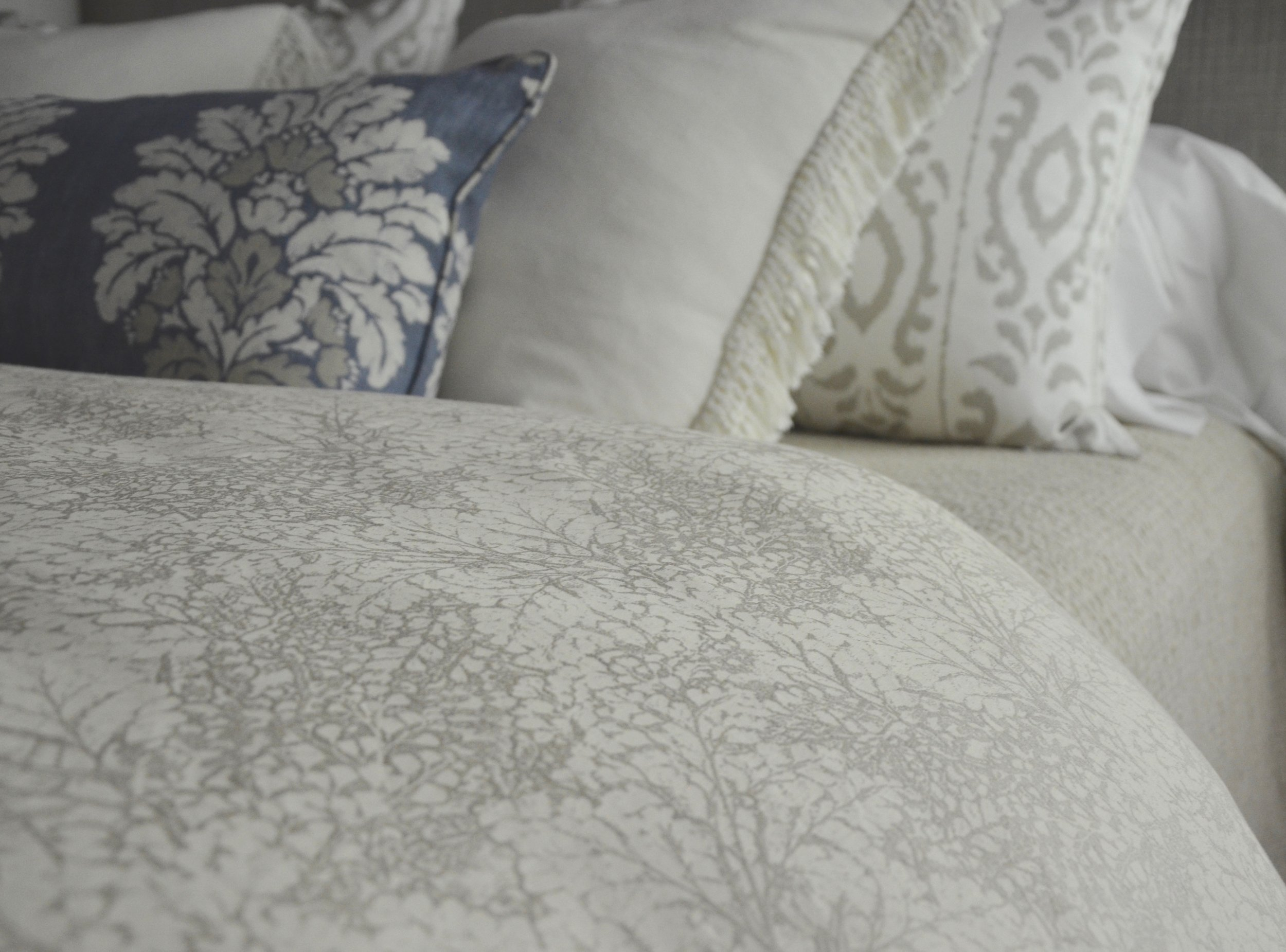 Duevet cover and bedding detail from our latest Turndown Service in McLean, VA, featuring SDH bedding. Turndown Service and Design by Valerianne of DC.