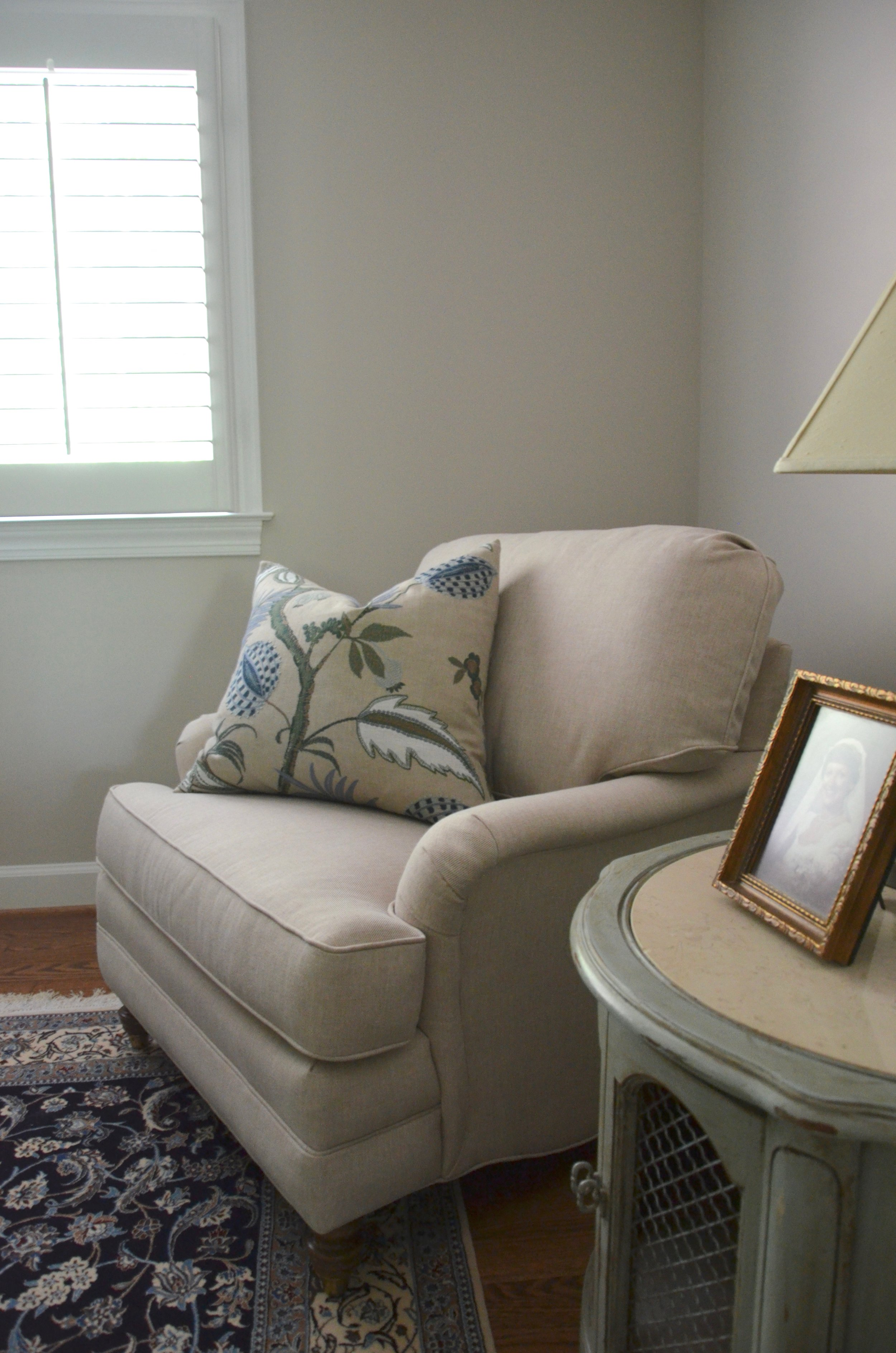 """Master Sitting Room Chair in Client """"Turning-down for an Update"""" in McLean, VA. Turndown Service and Design by Valerianne of DC."""