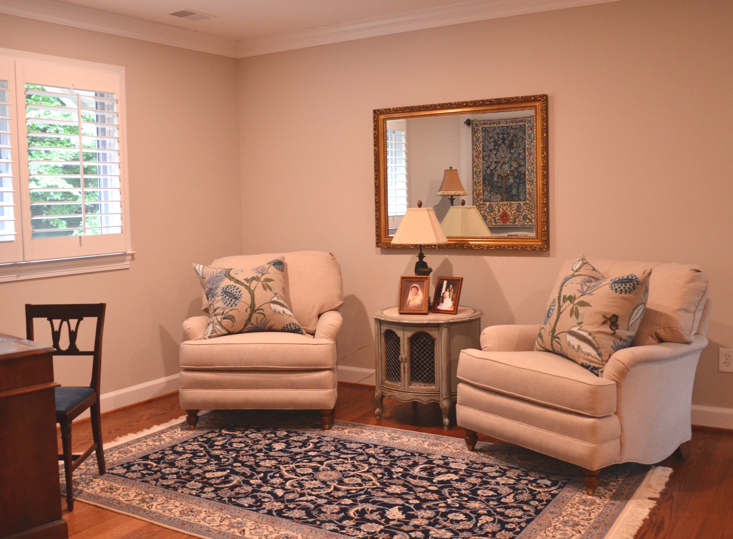 """The sitting room after in Client """"Turning-down for an Update"""" in McLean, VA.Turndown Service and Design by Valerianne of DC."""