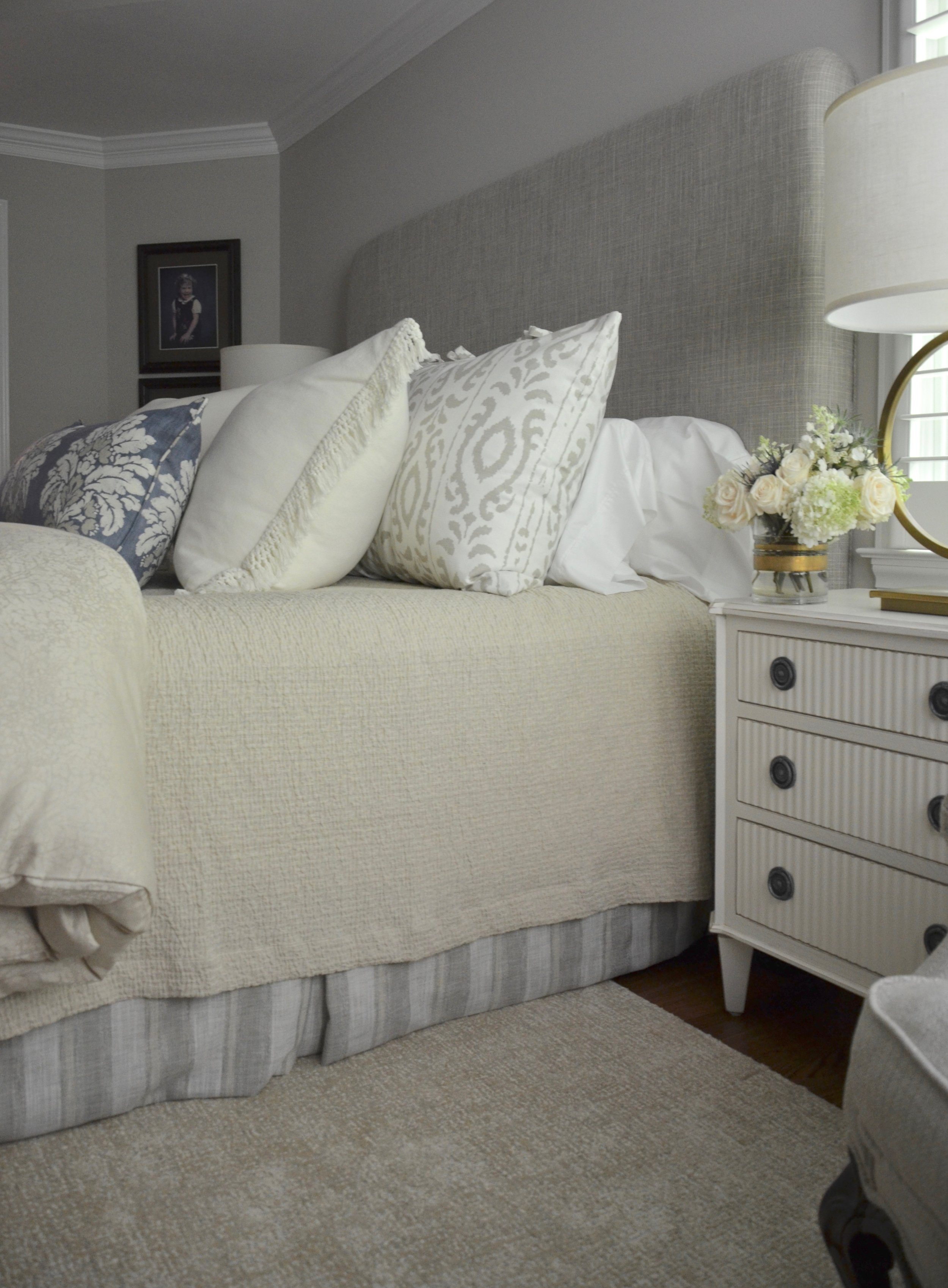 """Custom headboard, bedskirt, and rug with new bedding by SDH in client """"Turning-down for an Update"""" in McLean, VA.Turndown Service and Design by Valerianne of DC."""