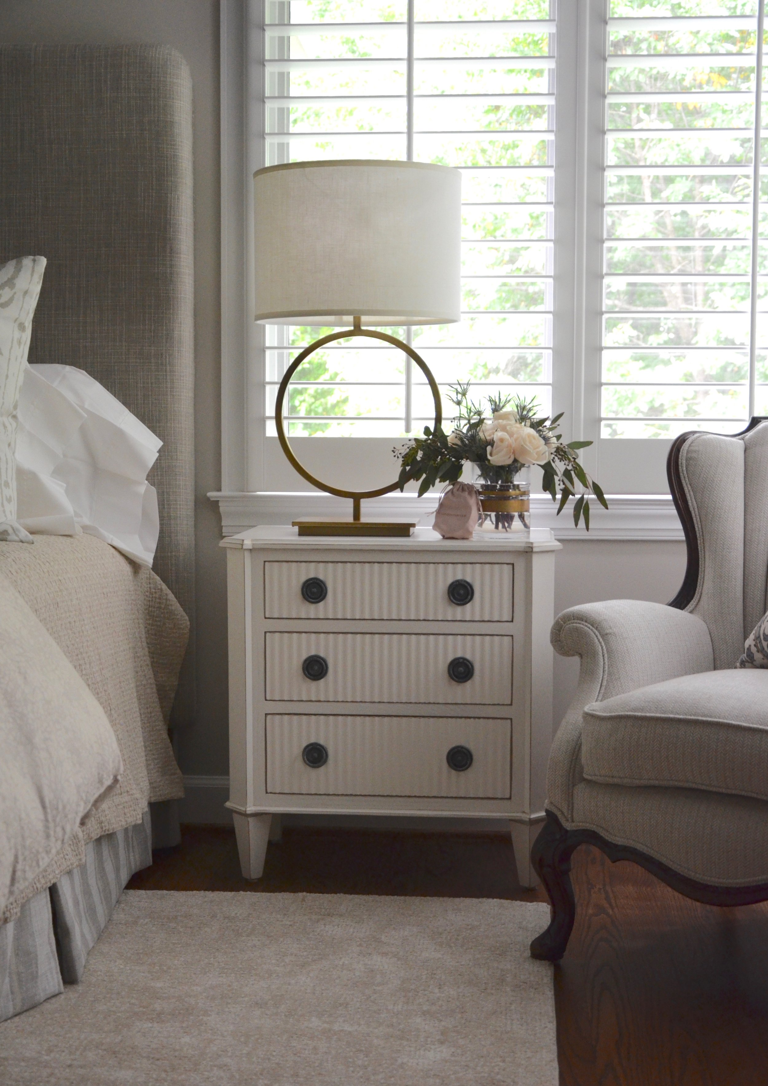 """Sentimental chair reupholstery, updated nightstands and table lamps, turndown swag bag in our client """"Turning-down for an Update"""" in McLean, VA. Turndown Service and Design by Valerianne of DC."""