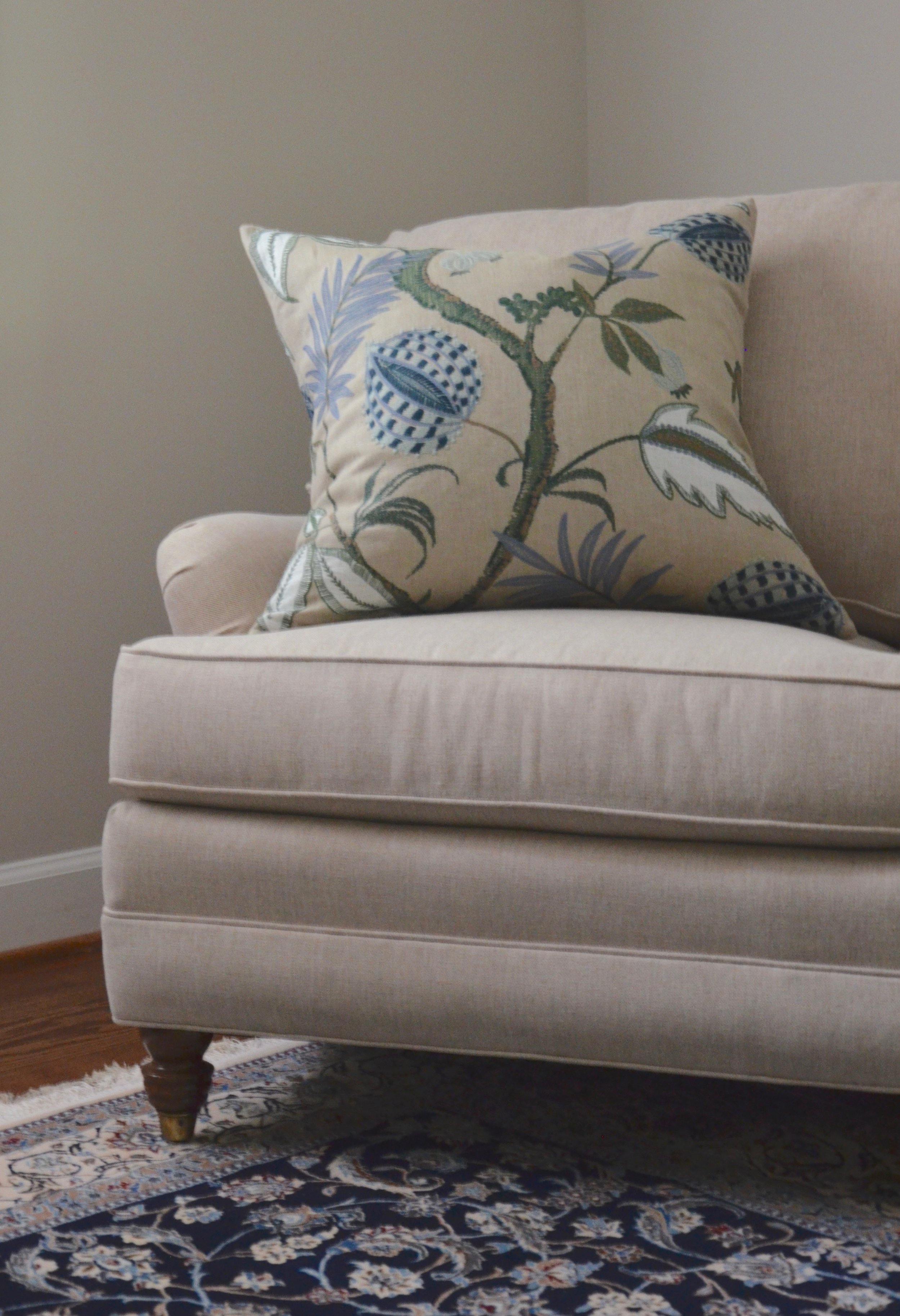 """Custom pillow in the sitting room chairs of client """"Turning-down for an Update"""" in McLean, VA. Turndown Service and Design by Valerianne of DC."""