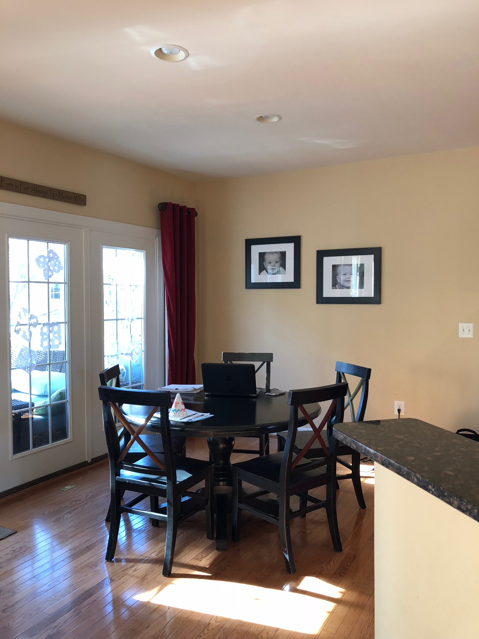 """Eat-in kitchen before from Client """"First Floor Refresh"""" in Herndon, VA."""