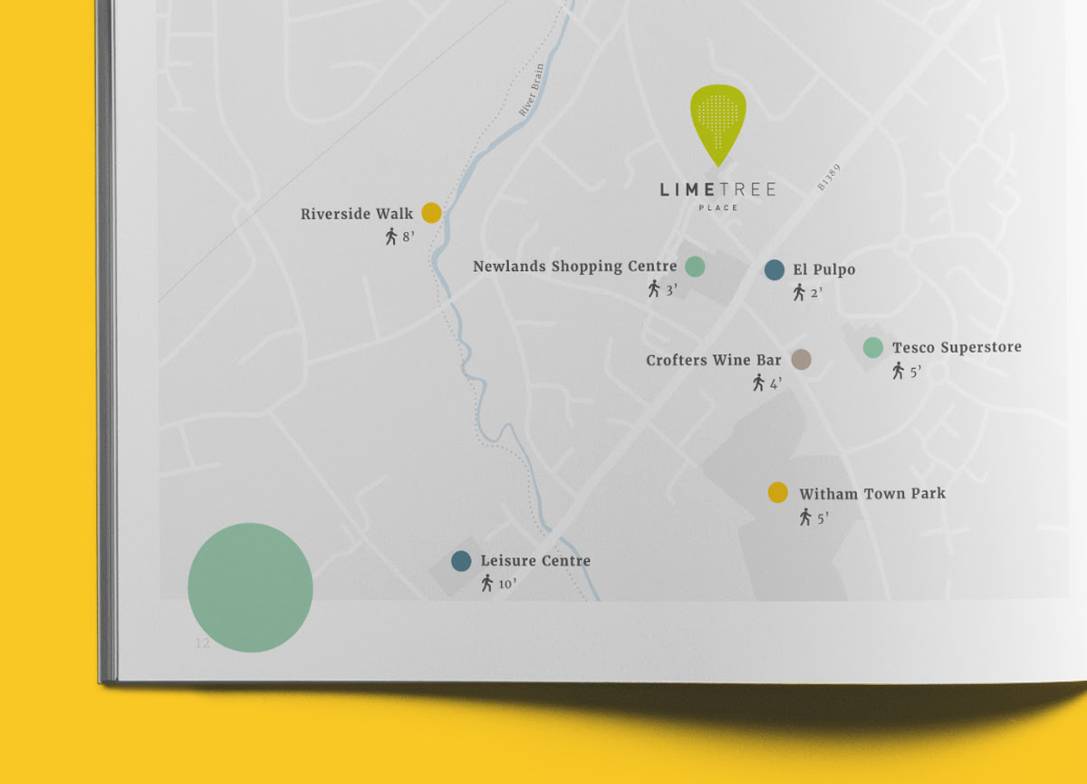 A bespoke local area map was designed for the brochure