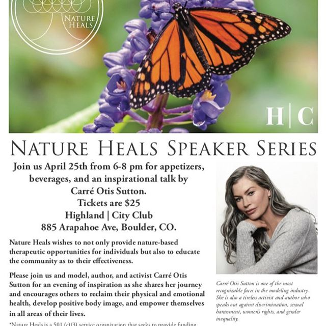 Come join us on April 25th 6-8pm for drinks, appetizers, and an inspirational talk.  https://www.eventbrite.com/e/nature-heals-speaker-series-with-carre-otis-sutton-tickets-58904871055