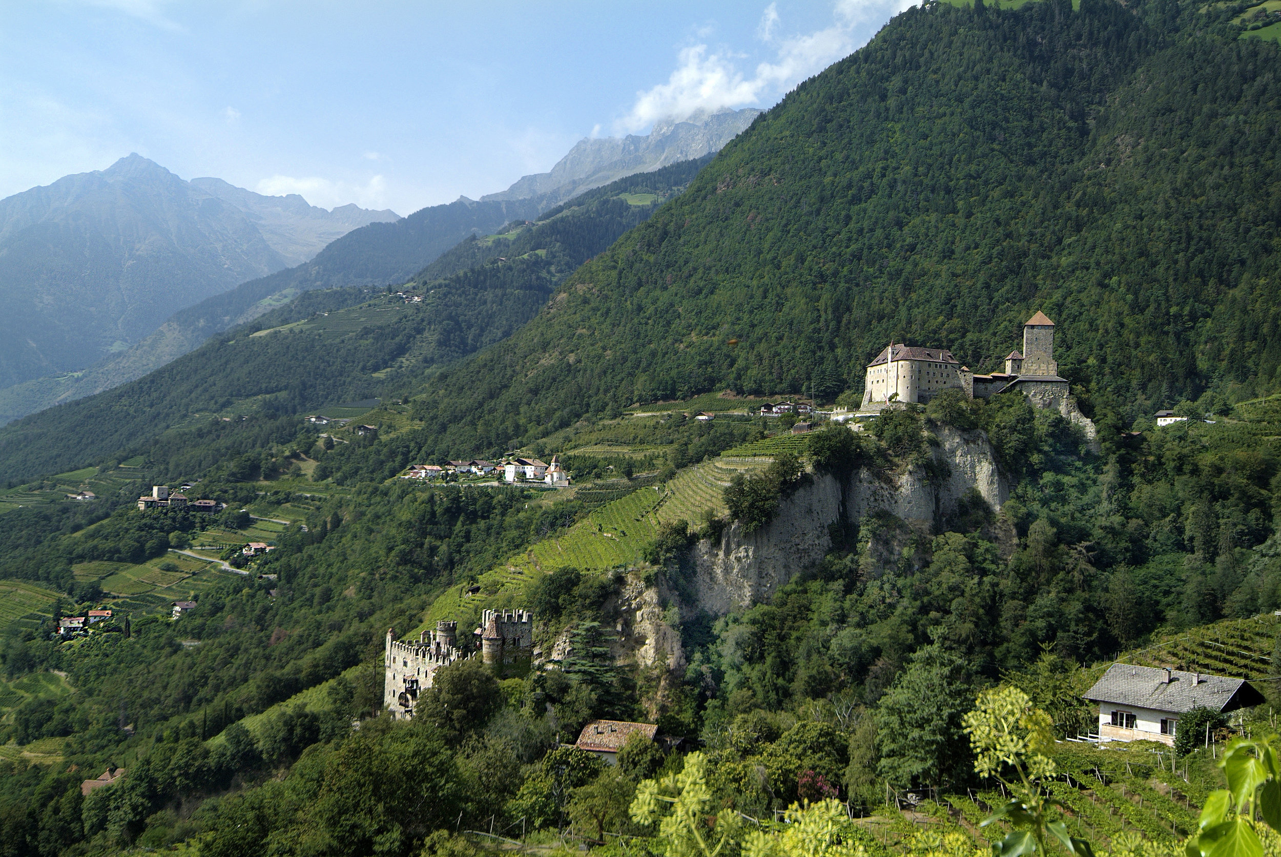 Merano, Italy with chateau and vineyards