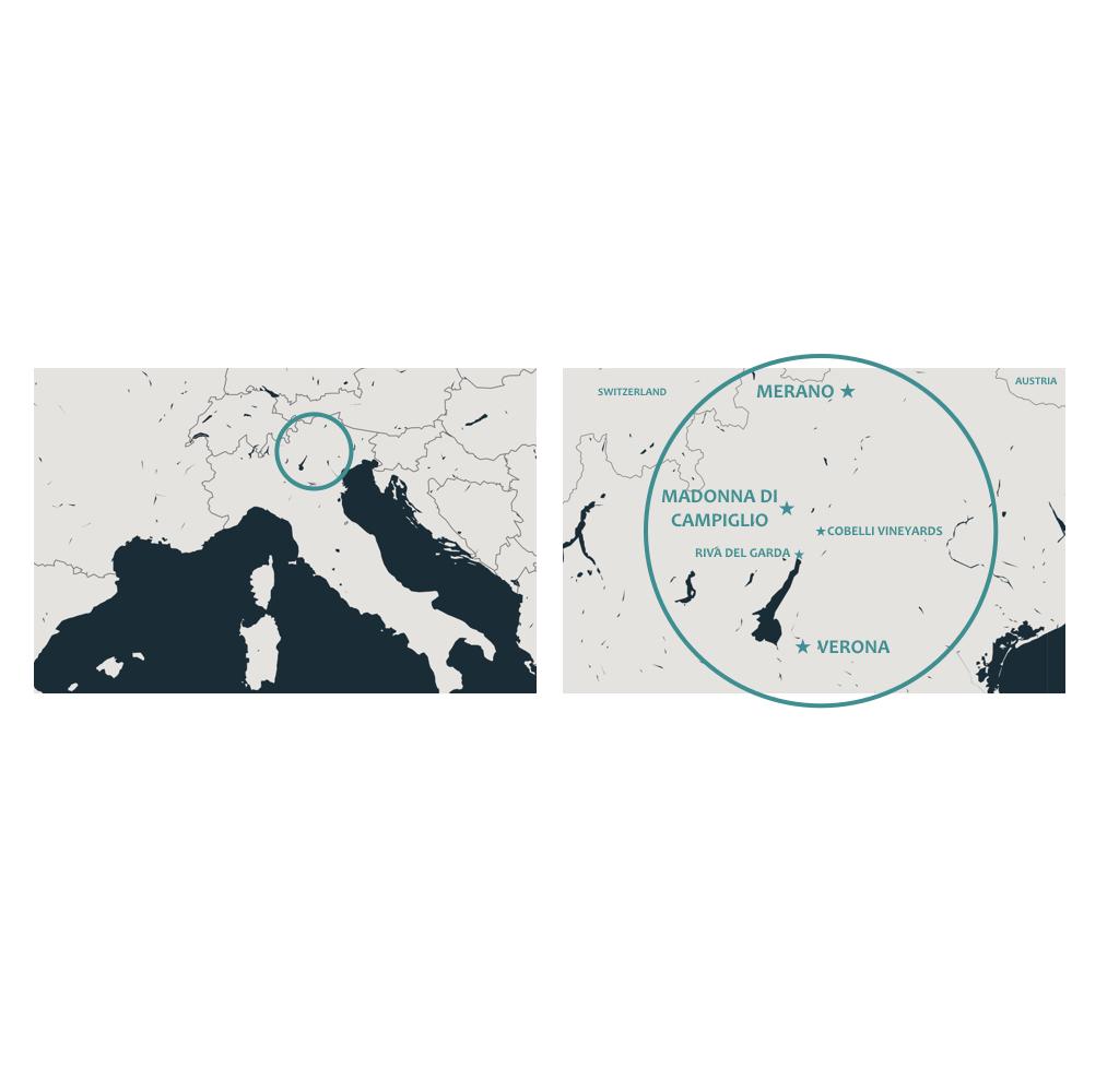 Map of Pathways Active Travel trip through Verona Madonna di Campiglio and Merano