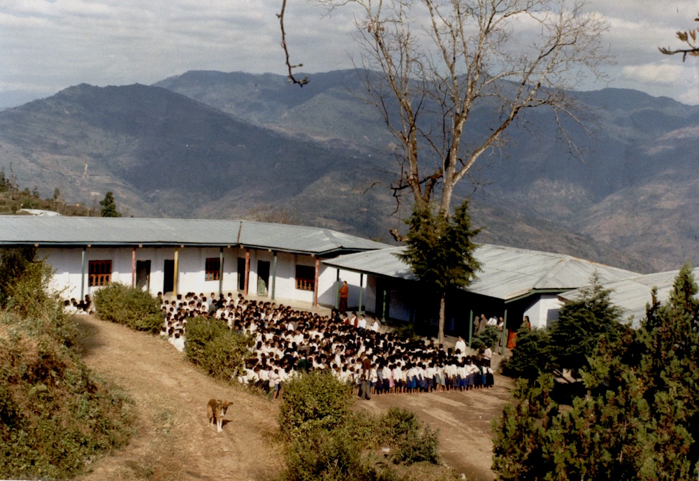 Assembly time at a school in southern Bhutan in the mid 1980s. This school was later closed.  Many of these children have grown to adulthood in the refugee camps.