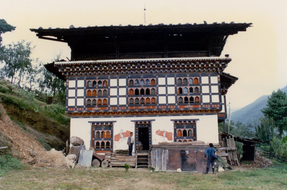 A traditionally Northern Bhutanese house. Highly decorated with symbols of protection.