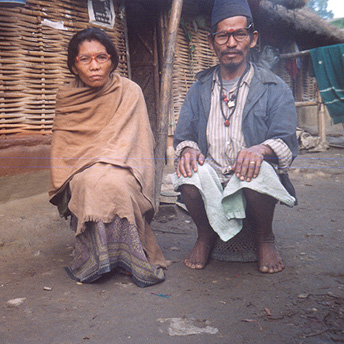 My mother and father outside our hut.   Menuka / PhotoVoice / LWF
