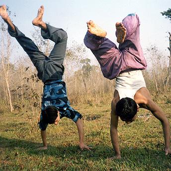 Bhutanese refugee youth united in exercise. Purna / PhotoVoice / LWF