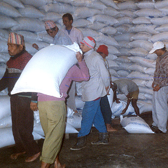 This is the ration store. Rations are stored here and taken to the distribution centre to be given to the people. Bhima / PhotoVoice / LWF