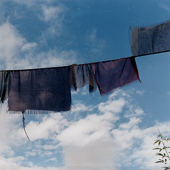 Prayer flags blow in the wind.  Deo Maya / PhotoVoice / LWF