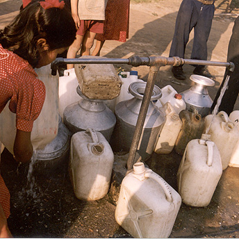 The water comes twice a day for a few hours.  Some days it doesn't come.    Khina / PhotoVoice / LWF
