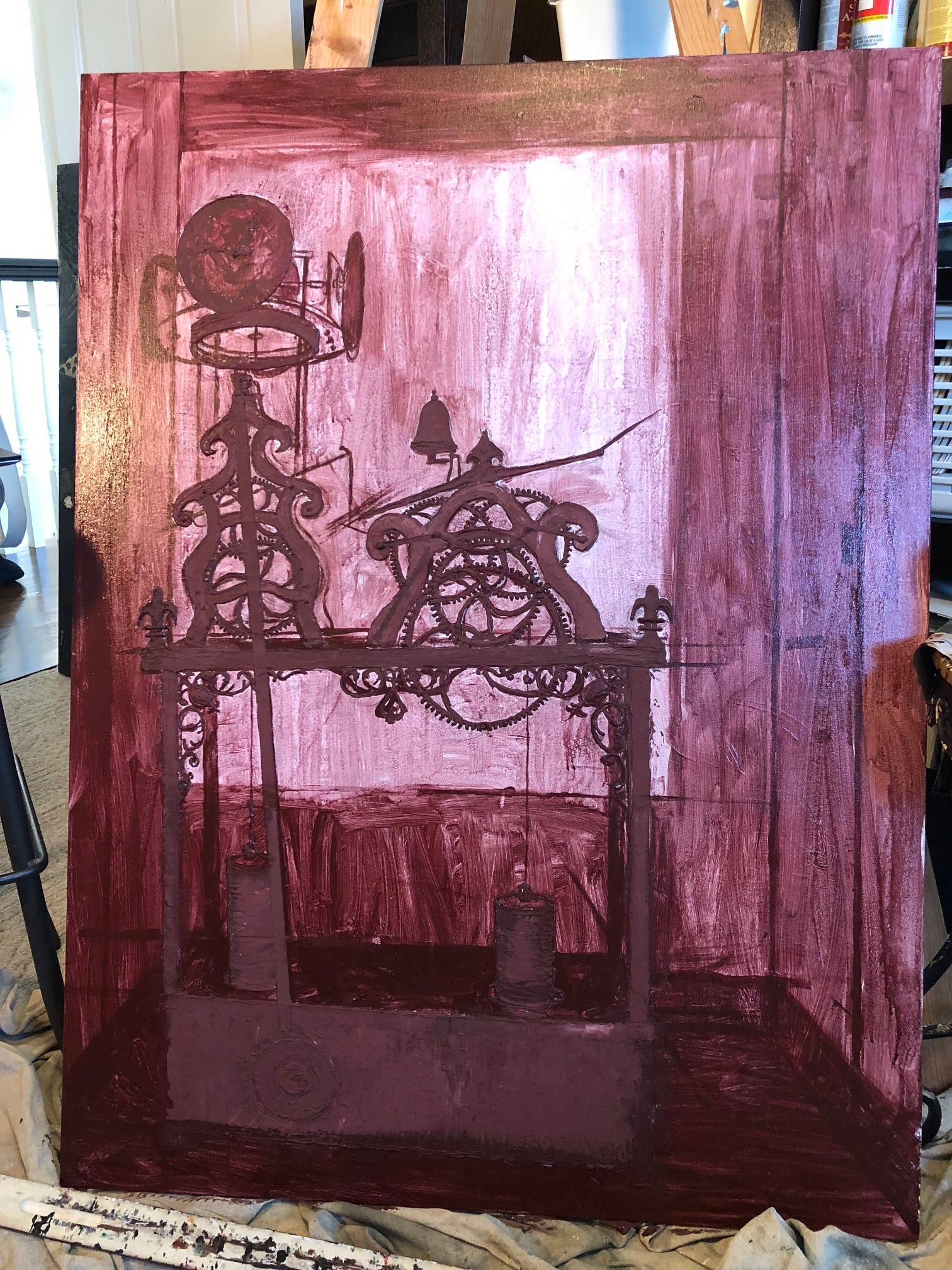 Finished layering modeling paste and completed underpainting