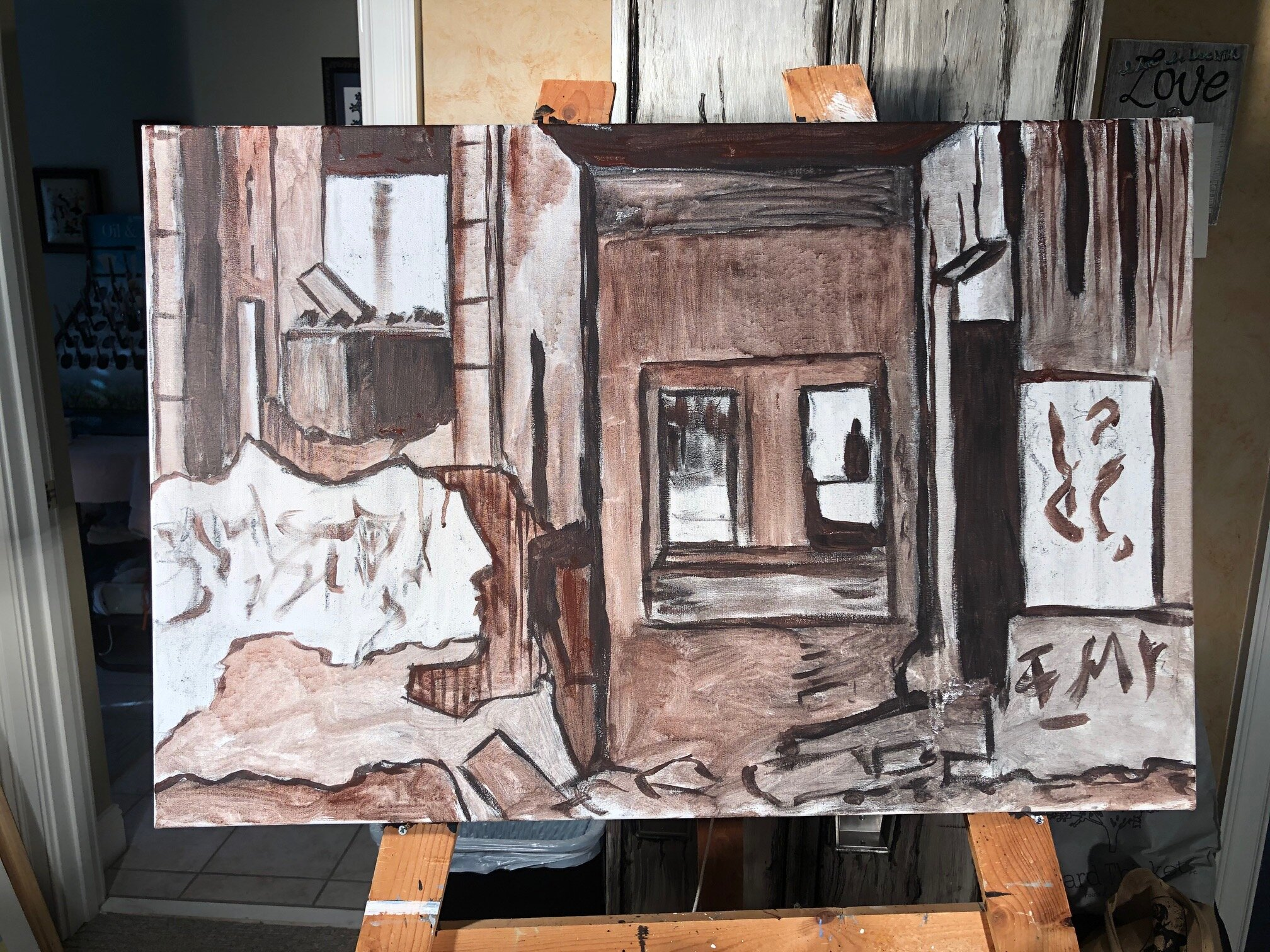 After sketching design on canvas, started underpainting to establish composition and values. Next, modeling paste will be added to add texture to elements in the foreground
