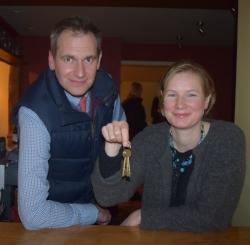 Save the Duke Campaigners James Batchelor-Wylam and Dr Sarah Caston holding keys to pub.jpg