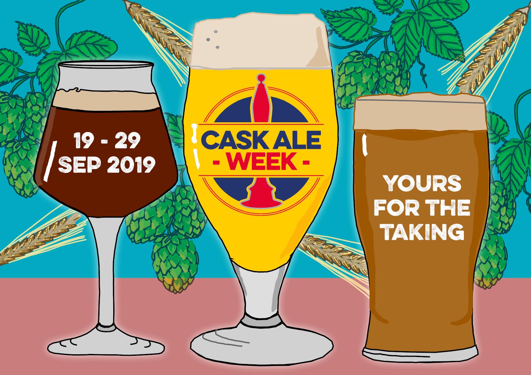 Postcard promoting Cask Ale Week 2019 (front)