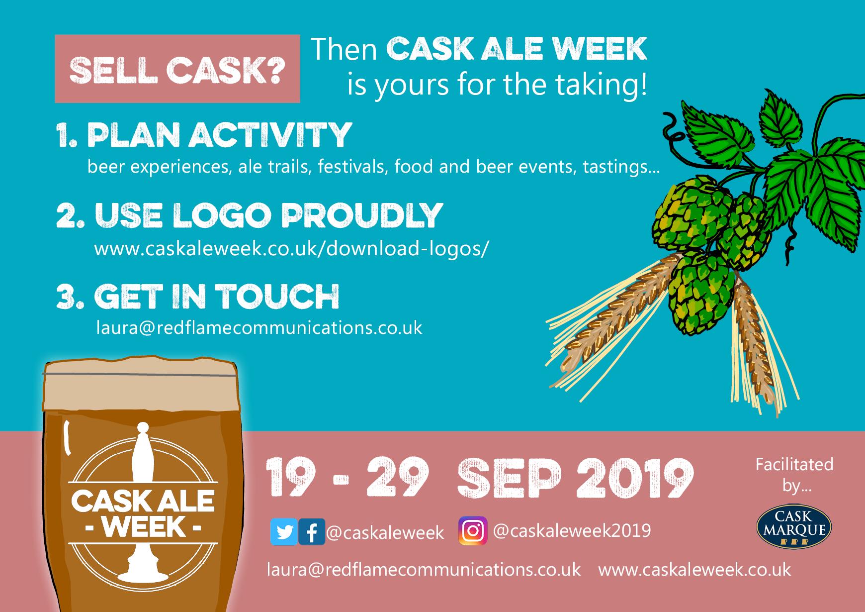 Postcard promoting Cask Ale Week 2019 (back)