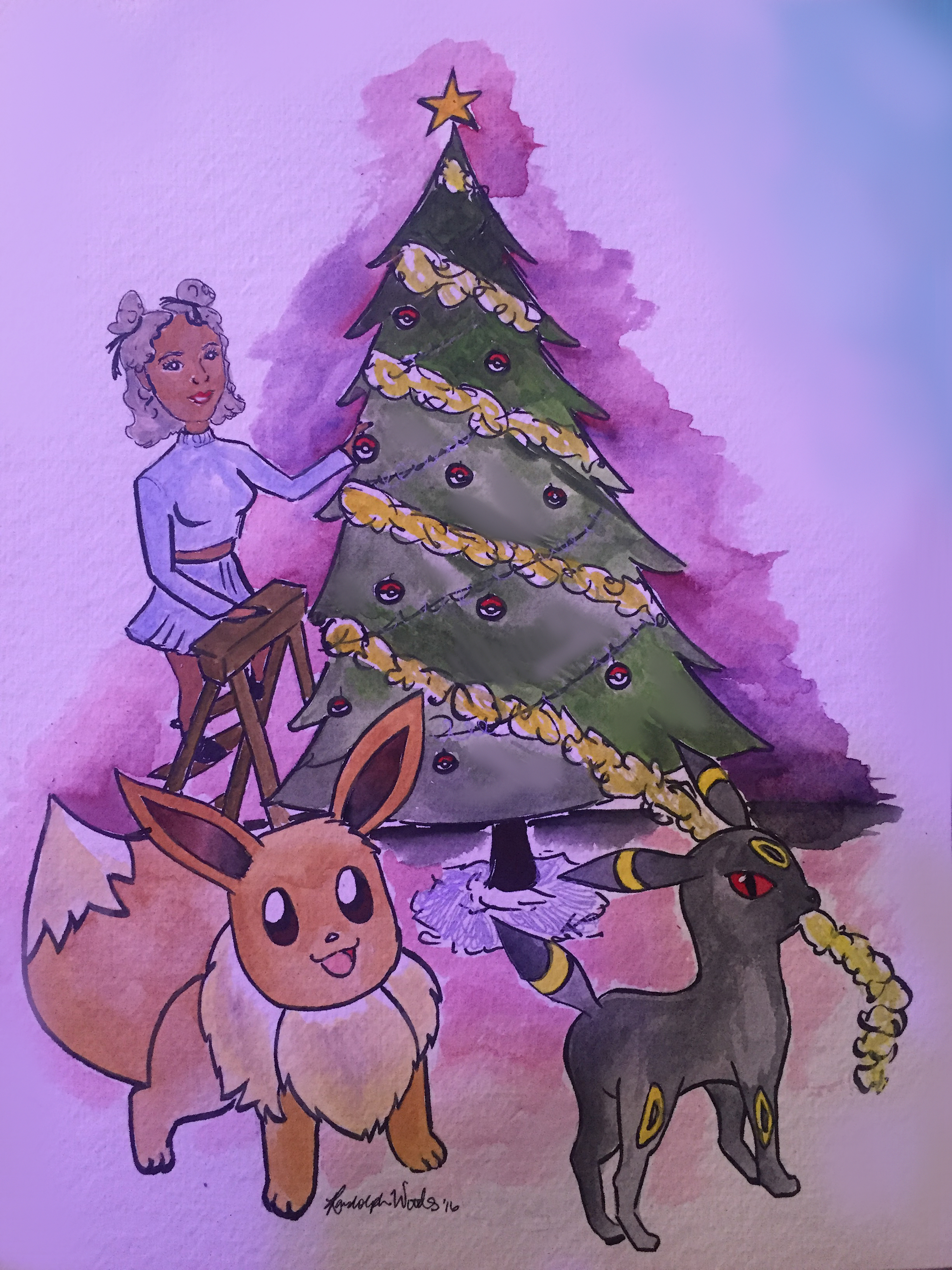 Bethani Randolph   The only non-electronic piece of the gallery was created by Chicago based artist, Bethani Randolph. A mixture of inking and watercolor, Bethani's festive scene between her and an Eevee and Umbreon stands out among the rest of the submissions.   Instagram