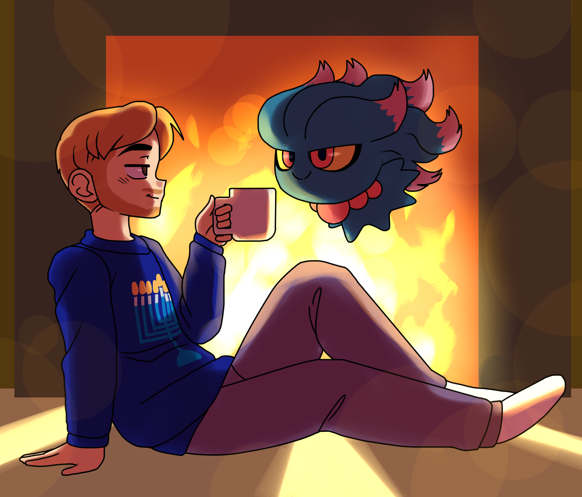 Rakugaki Otoko (@Dreamsbell)   Shifting to a more cozy setting, Raku portrays a moment of relaxation between Aaron and his Misdreavus. A cozy cup of hot cocoa and a nice Hanukah sweater may be warm, but the fire with beautifully detailed lighting effects is most certainly warmer.   Twitter    Patreon
