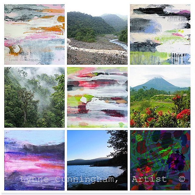 I had the pleasure of traveling to Costa Rica for vacation, and then for a design project years ago. When my recent abstract series reminded me of the sights, colors and textures of the Costa Rica cloud forests — of course the title had to be 'Cloud Forest' ! In this collage the painting is first then my abstract. In the link in my profile are more & how to purchase. . . . #acrylicartist  #abstractobsession #acrylicpainter  #contemporarypainting #modern  #artconsulting  #moderninterior  #northerncaliforniaart #artforsalebyartist  #painterslife  #artistlife #acrylicpainter  #lynnecunninghamart #artiste #designlovers #artblogger #colorpalettes #colorpalettes #thepainterspalette  #coloranddesign #artanddesign #artforinteriors #commissionedartist #tropicalfever  #abstraction