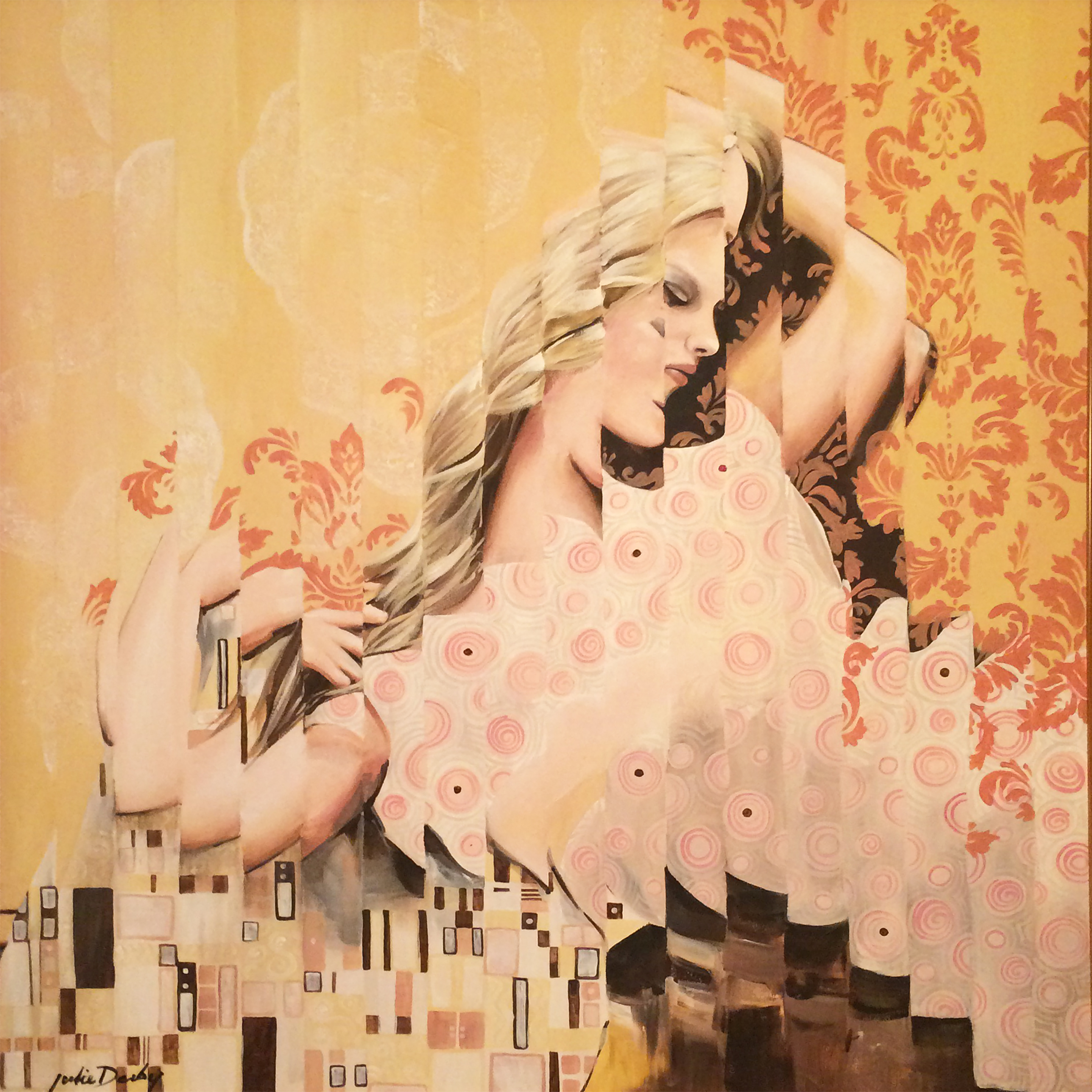 "Dreaming of Gustav • 40"" x 40"" x 1"" • Acrylic & Doilies on Canvas"