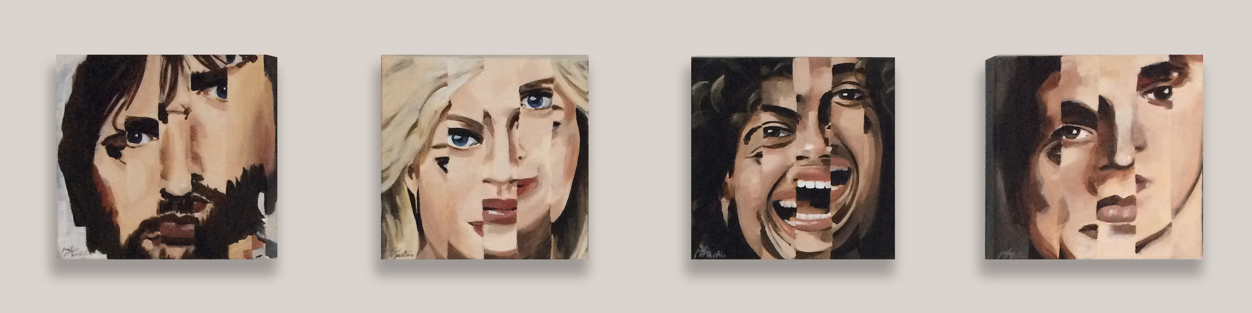 "4 Faces • Acrylic on wrapped canvas • Each 8"" x 8"" x 1.5"" • Fragmented portraits with expressive personalities."