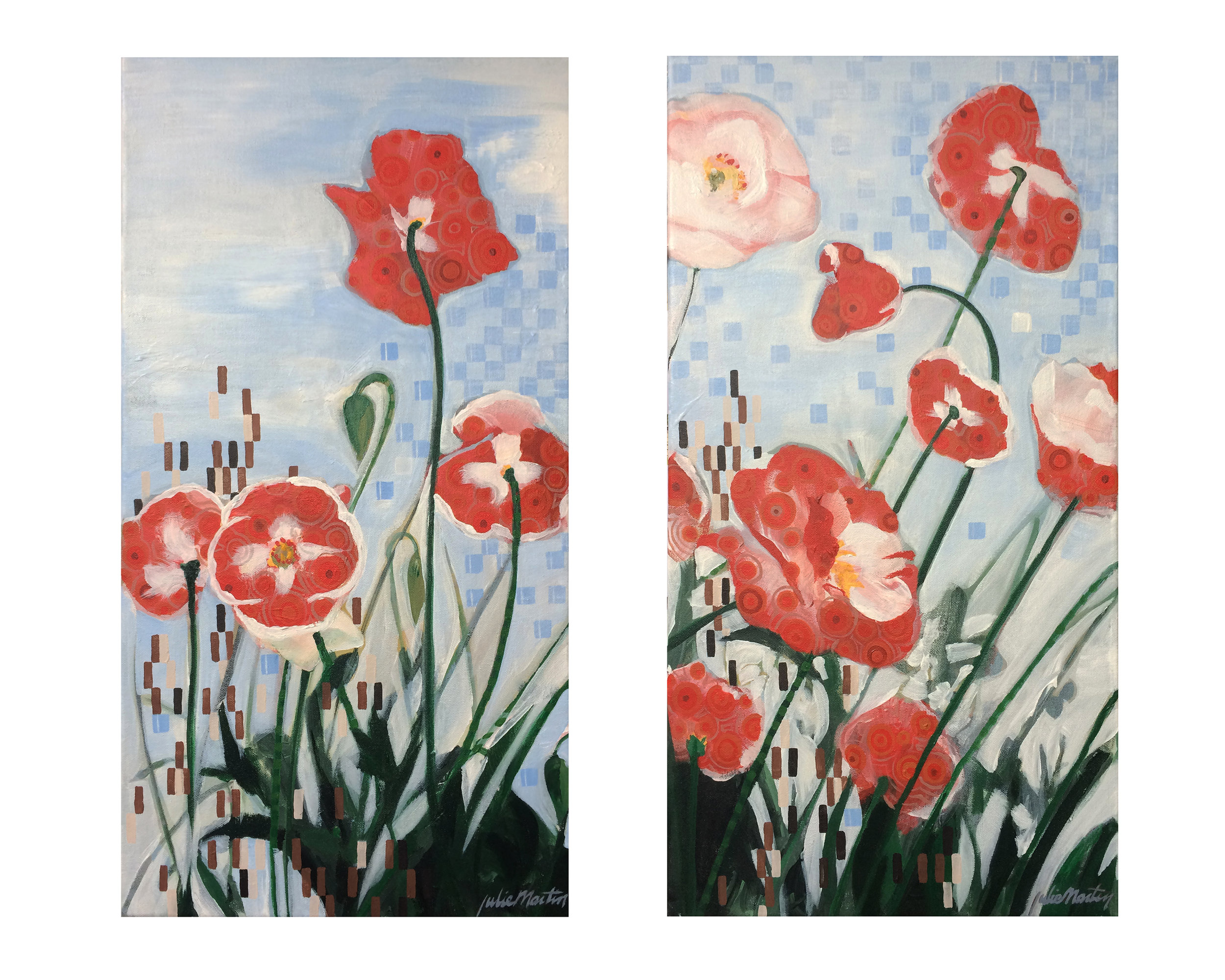 "Florals for a change • Acrylic on canvas • PoppyPattern1 - 24"" x 13"" • PoppyPattern2 - 24"" x 13"""