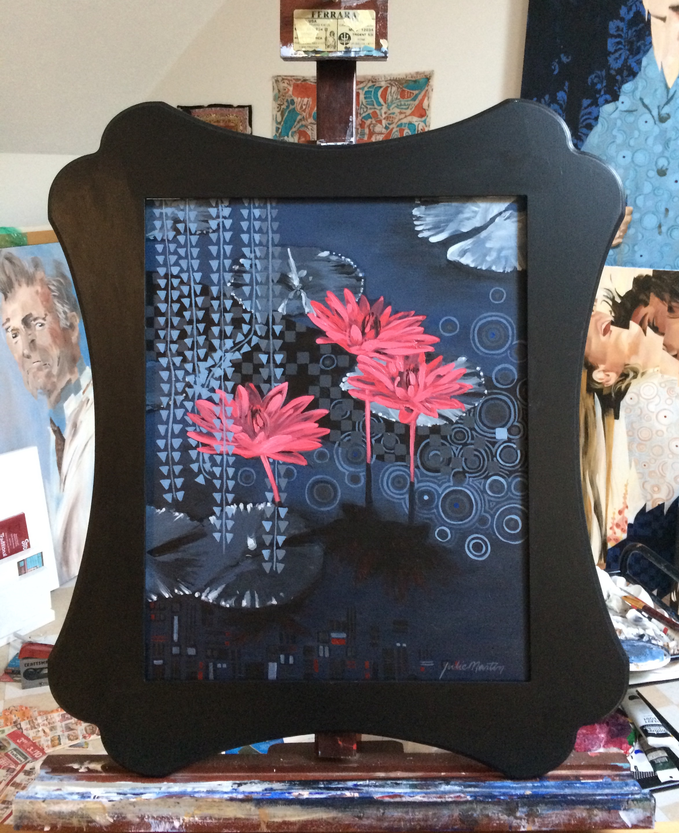 "Water Lily Nights • Acrylic on Wood Panel • with Curvy Frame • 27.5"" x 23"" • Photo in my studio"