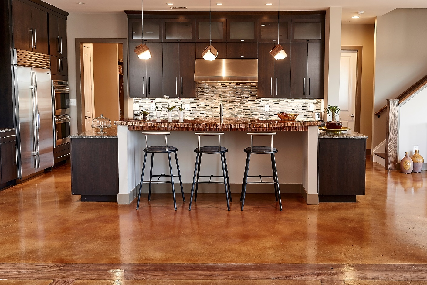 Residential wood inlay - Stained & Sealed Overlay