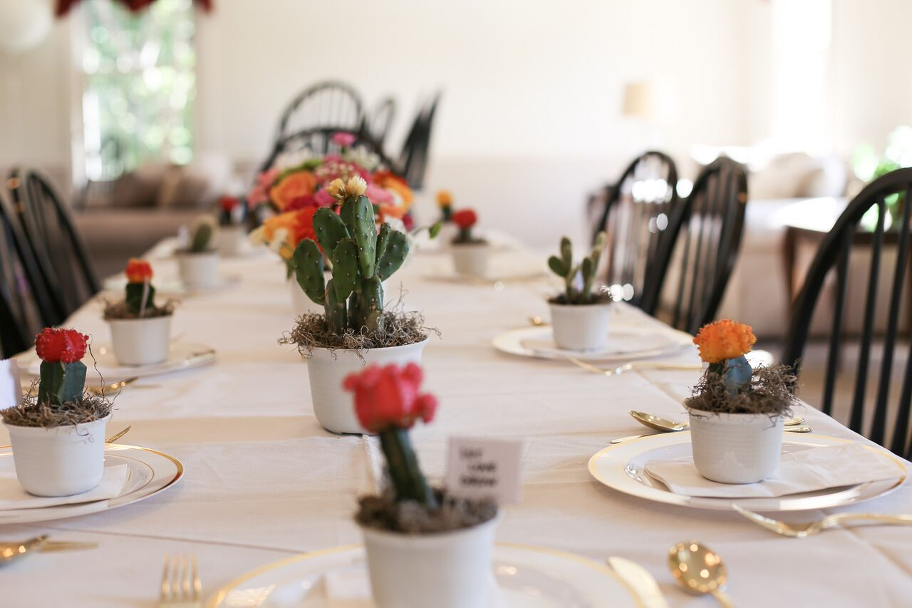 Table decor for a cactus-inspired bridal brunch